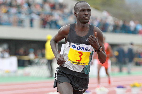 Kenya's Lucas Rotich on his way to winning the Lake Biwa Marathon (Victah Sailer)
