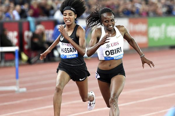 Sifan Hassan and Hellen Obiri in the 5000m at the Diamond League meeting in Zurich (Mark Shearman)