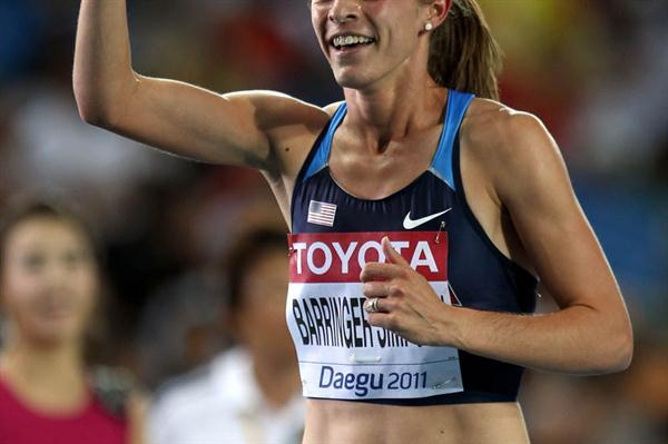 Jennifer Barringer Simpson of United States celebrating her gold medal in the women's 1500 metres final  (Getty Images)