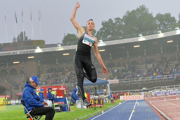 Ivana Spanovic on her way to winning the long jump at the IAAF Diamond League meeting in Stockholm (Hasse Sjogren)