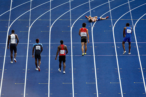 Christophe Lemaitre after false starting in the 100m at Berlin 2009 ()