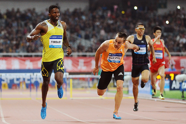 Michael Tinsley wins the 400m hurdles at the IAAF Diamond League meeting in Shanghai (Errol Anderson)
