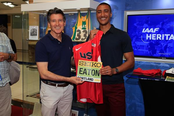 IAAF President Sebastian Coe and two-time Olympic champion Ashton Eaton at the IAAF Heritage World Athletics Championships Exhibition in Doha (Getty Images)
