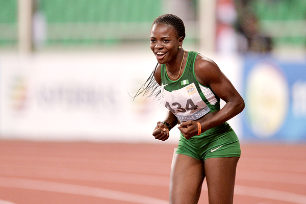 Tobi Amusan after winning the 100m hurdles at the African Games (AFP / Getty Images)