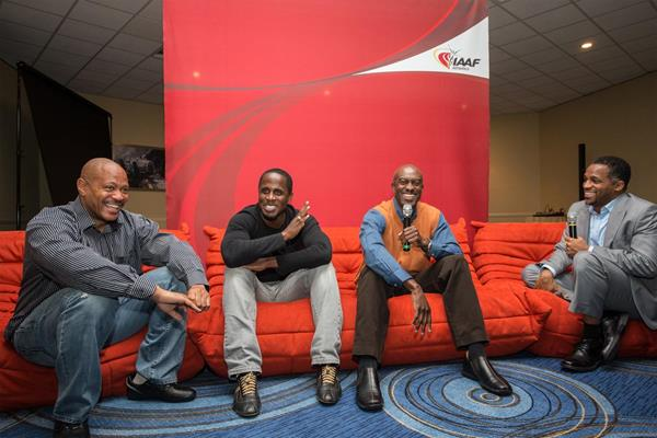 Maurice Greene, Dwight Phillips and Allen Johnson talk to Ato Boldon in Monaco (Philippe Fitte)