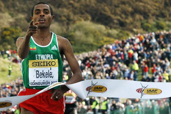 Kenenisa Bekele caps an Ethiopian sweep in Edinburgh at the 2008 World XC Championships (AFP/Getty Images)