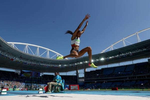Nafissatou Thiam in the heptathlon long jump at the Rio 2016 Olympic Games (Getty Images)