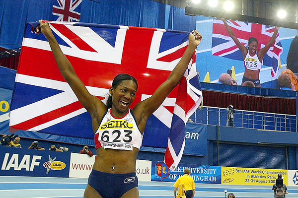Ashia Hansen celebrates her triple jump victory at the 2003 IAAF World Indoor Championships in Birmingham (Getty Images)