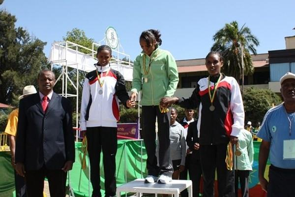 Meselech Melkamu (c) after her dominating victory at the Ethiopian World XC trials (Organisers)