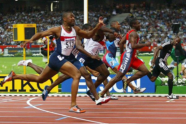 Kim Collins (far right) wins the 100m at the 2003 IAAF World Championships in Paris (Getty Images)