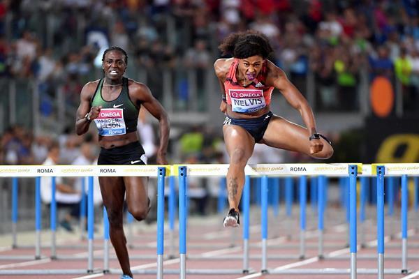 Sharika Nelvis en route to her Rome 100m hurdles victory (Hasse Sjogren)
