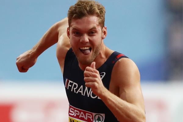 Kevin Mayer en route to the European indoor heptathlon title in Belgrade (Getty Images)