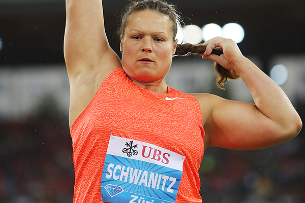 Christina Schwanitz, winner of the shot at the IAAF Diamond League meeting in Zurich (Jean-Pierre Durand)