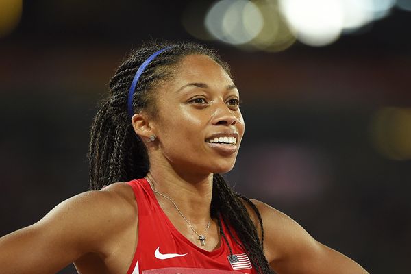 400m winner Allyson Felix at the IAAF World Championships, Beijing 2015 (AFP / Getty Images)