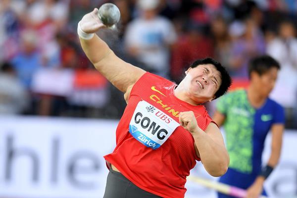 Gong Lijiao, winner of the shot put at the IAAF Diamond League final in Zurich (Jiro Mochizuki)