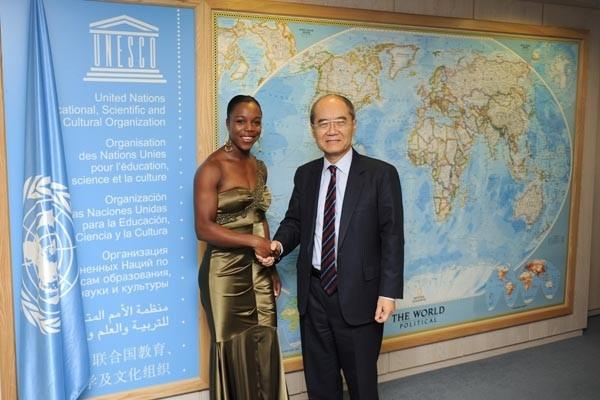 Veronica Campbell-Brown is bestowed the honour of UNESCO Ambassador for Sport in Paris (Freelance)