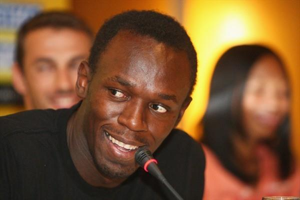 Usain Bolt of Jamaica during the IAAF World Athletics Final press conference (Getty Images)