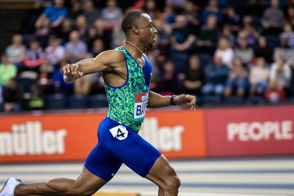 Ronnie Baker wins the 60m at the World Athletics Indoor Tour meeting in Glasgow (Dan Vernon)