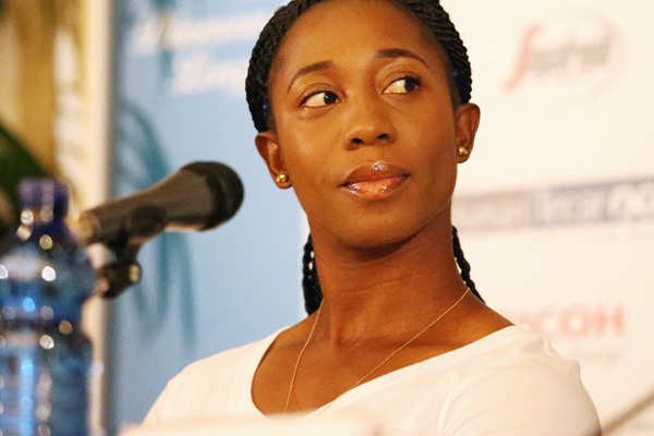 Shelly-Ann Fraser-Pryce at the press conference for the IAAF Diamond League meeting in Rome (Gladys von der Laage)