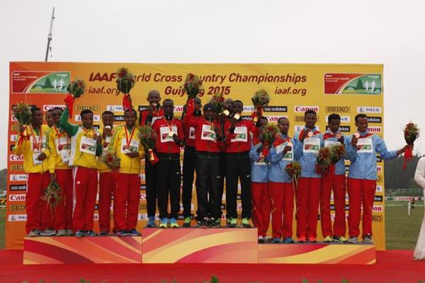 The junior men's team medallists at the IAAF World Cross Country Championships, Guiyang 2015 (Getty Images)