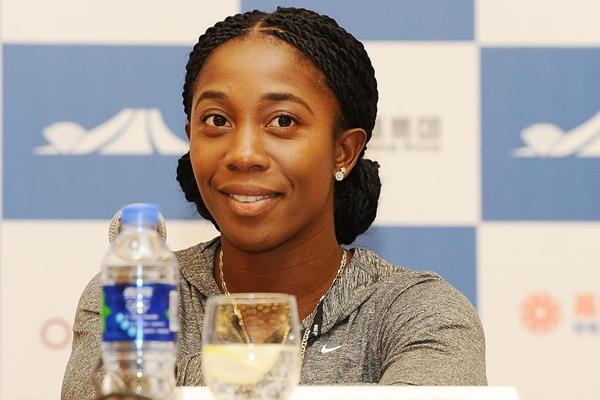 Shelly-Ann Fraser-Pryce at the press conference ahead of the IAAF Diamond League meeting in Shanghai (Errol Anderson)