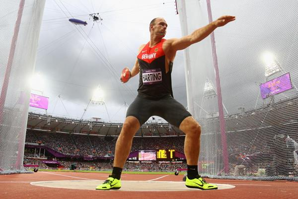 Robert Harting of Germany competes in the Men's Discus Throw Final on Day 11 of the London 2012 Olympic Games at Olympic Stadium on August 7, 2012 (Getty Images)