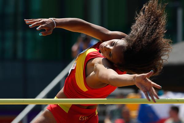 Maria Vicente in the heptathlon high jump at the European U18 Championships (Getty Images)