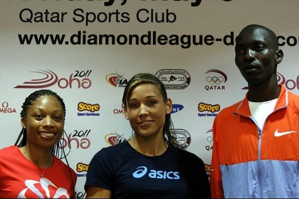 Allyson Felix, Lolo Jones and Asbel Kiprop at the pre-meet press conference in Doha (Bob Ramsak)