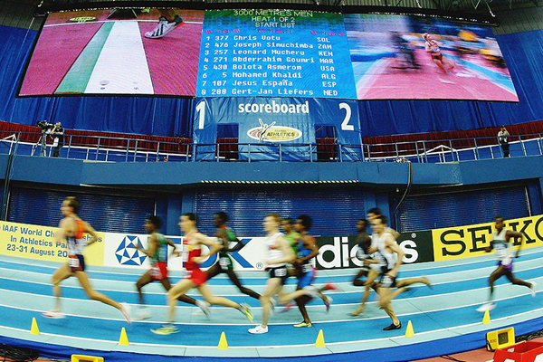 Athletes in action at the 2003 IAAF World Indoor Championships in Birmingham (Getty Images)