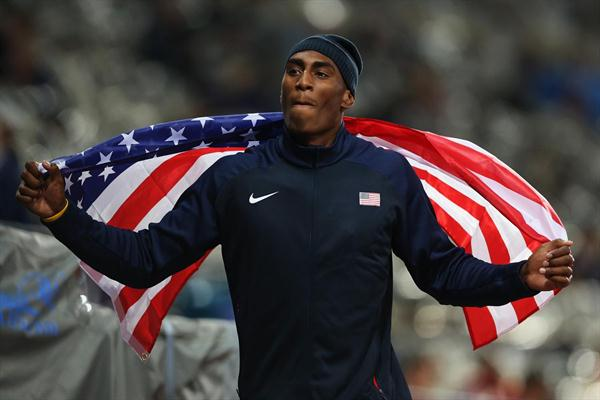 Erik Kynard of the United States celebrates after winning the silver medal in the Men's High Jump Final on Day 11 of the 2012 London Olympic Games on 7 August 2012 (Getty Images)
