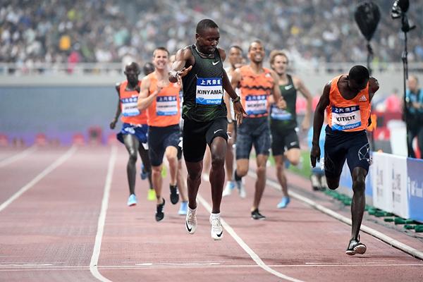 Wycliffe Kinyamal wins the 800m at the IAAF Diamond League meeting in Shanghai (Errol Anderson)