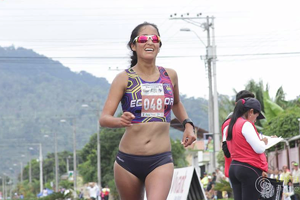 Magaly Bonilla wins the 50km at the South American Race Walking Championships in Sucua (Organisers)