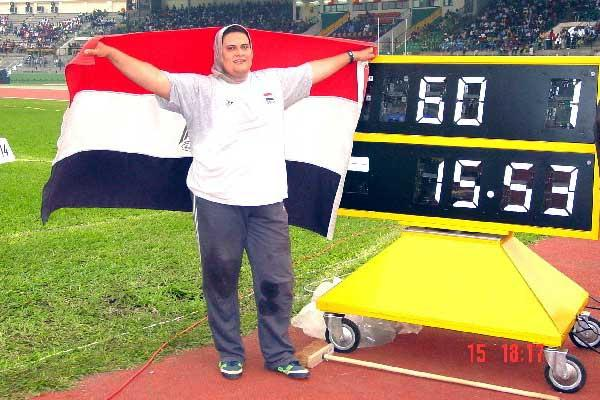 Wafa Ismqil Baghdadi of Egypt in Brazzaville after winning women's Shot title (Ouma)