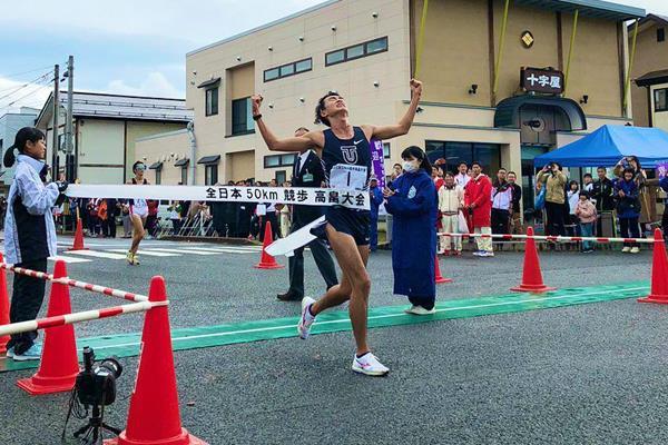 Masatora Kawano wins the 50km race walk in Takahata (JAAF)