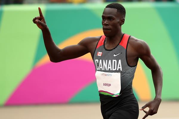 Marco Arop after winning the 800m at the Pan-American Games in Lima (Getty Images)