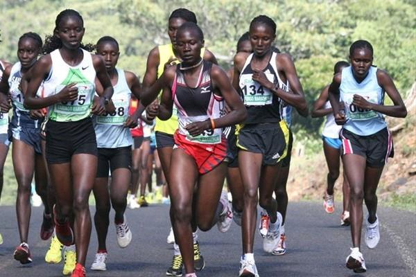 Agnes Kiprop (134), second from right, en route to her 15Km victory at this year's Baringo Half Marathon (David Macharia)