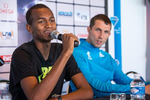 Mutaz Essa Barshim and Bogdan Bondarenko ahead of the IAAF Diamond League meeting in Monaco (Philippe Fitte)