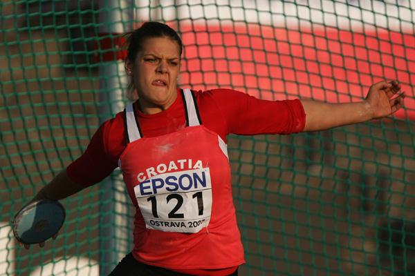 Sandra Perkovic of Croatia during the Discus Throw final (Getty Images)