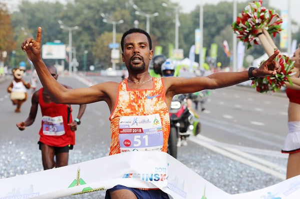 Abebe Negewo wins the Minsk Half Marathon (Organisers)