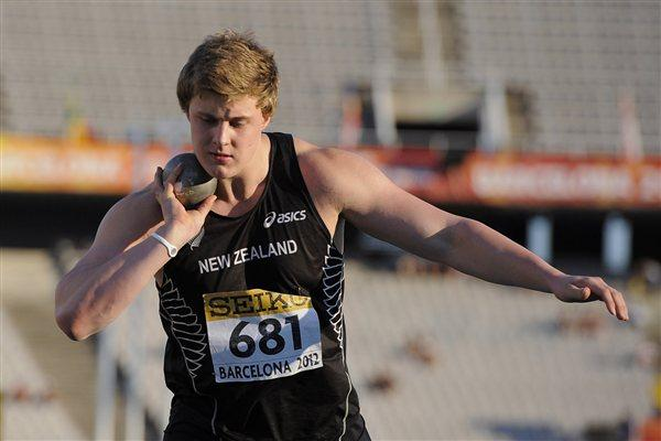 Jacko Gill of New Zealand competes in the men's Shot Put final on the day two of the 2012 IAAF World Junior Championships (Getty Images)