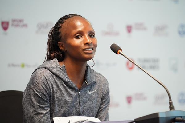 Hellen Obiri at the press conference ahead of the Wanda Diamond League meeting in Doha (Matt Quine)