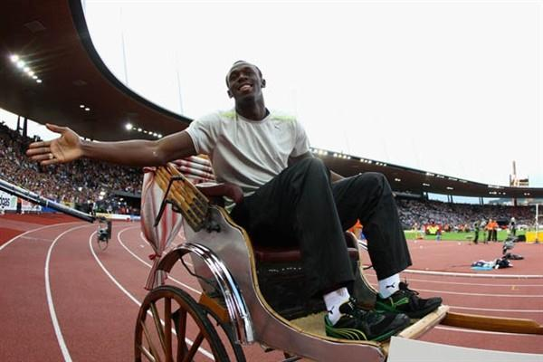 Usain Bolt arrives by rickshaw for the IAAF Golden League in Zurich's Letzigrund Stadium (Getty Images)