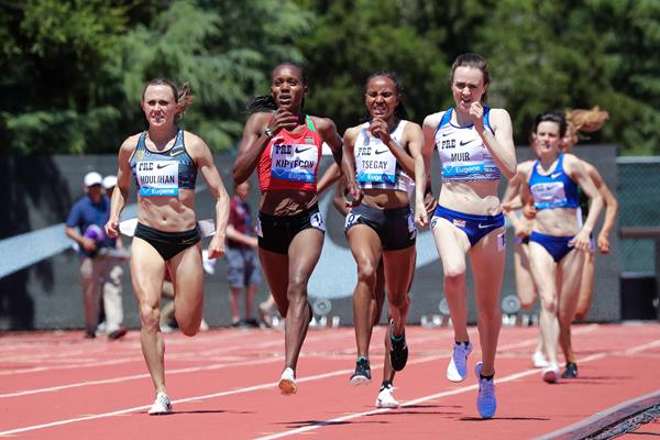 Faith Kipyegon (second from left) in the 1500m at the IAAF Diamond League meeting in Stanford (Victah Sailer)