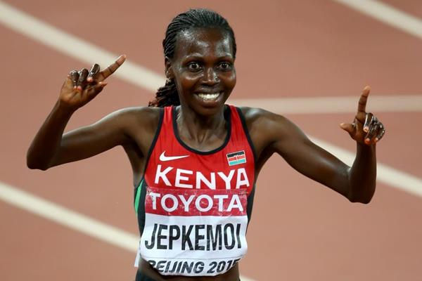 Steeplechase winner Hyvin Jepkemoi at the IAAF World Championships, Beijing 2015 (Getty Images)