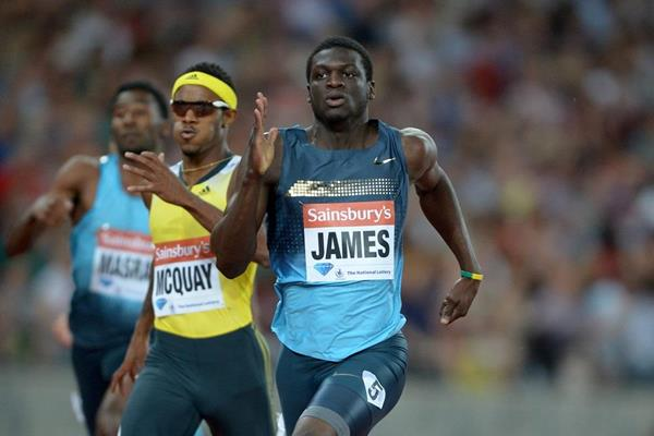 Kirani James winning at the 2013 IAAF Diamond League meeting in London (Kirby Lee)