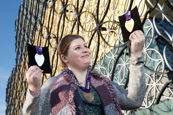 Menna Jones with her winning design for the medals to be awarded at the IAAF World Championships Birmingham 2018  (Birmingham 2018 LOC)