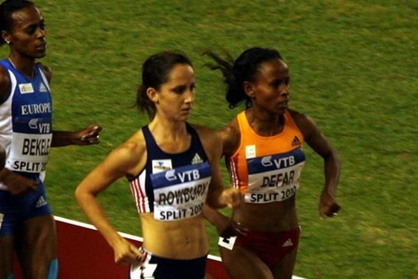 Meseret Defar leading Shannon Rowbury in the 3000m at the IAAF / VTB Bank Continental Cup in Split (Bob Ramsak)