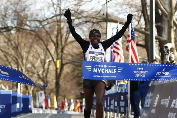 Joyciline Jepkosgei victorious at the New York City Half (Organisers)