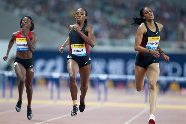 Kaliese Spencer (r) takes a big win in Shanghai (Errol Anderson)