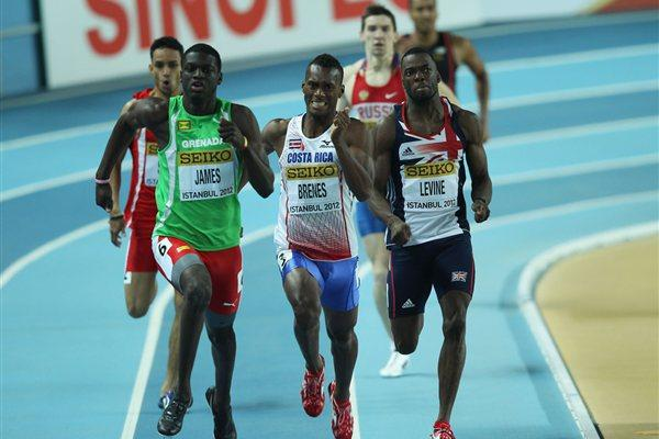 (L-R) Kirani James of Grenada, Nery Brenes of Costa Rica and Nigel Levine of Great Britain compete in the Men's 400 Metres semi final during day one - WIC Istanbul (Getty Images)